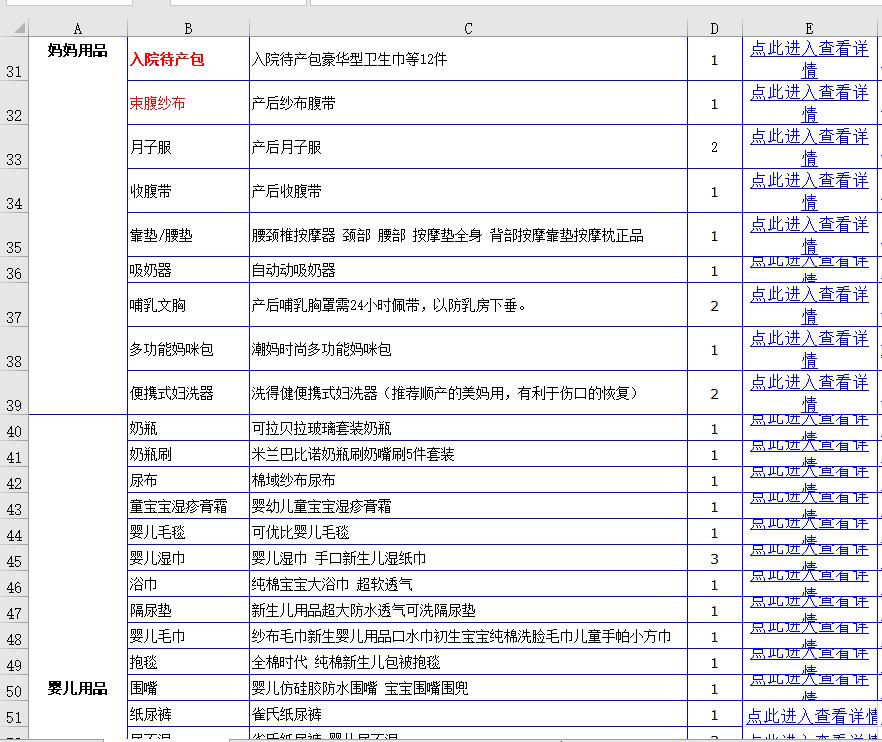 待产包清单表Excel版