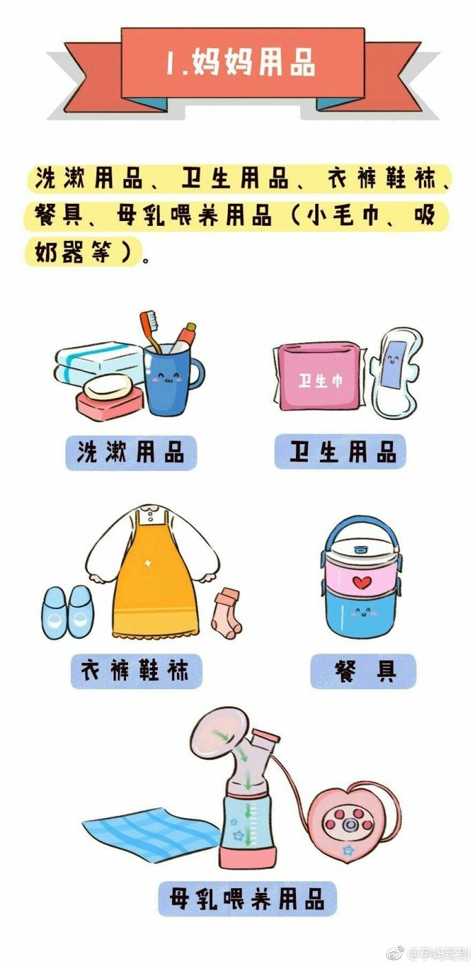 北京协和医院妇产科副教授马良坤推荐待产包清单1-妈妈用品