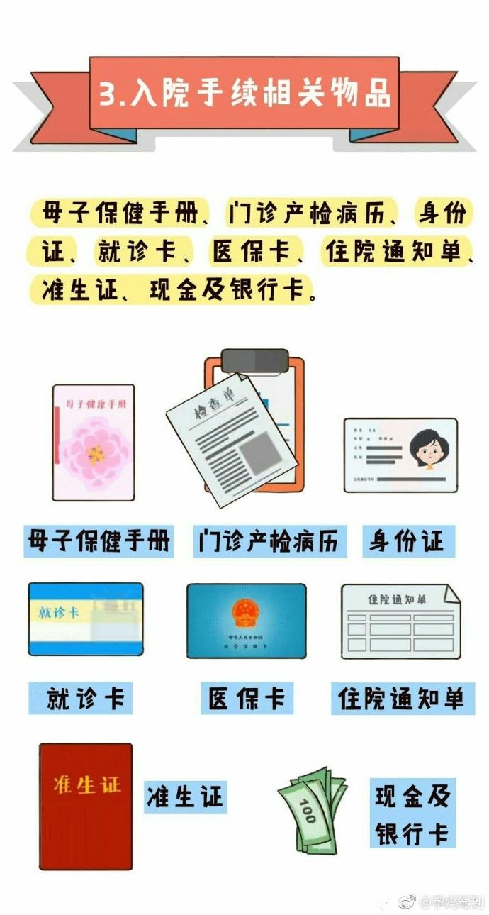 北京协和医院妇产科副教授马良坤推荐待产包清单3-入院相关用品