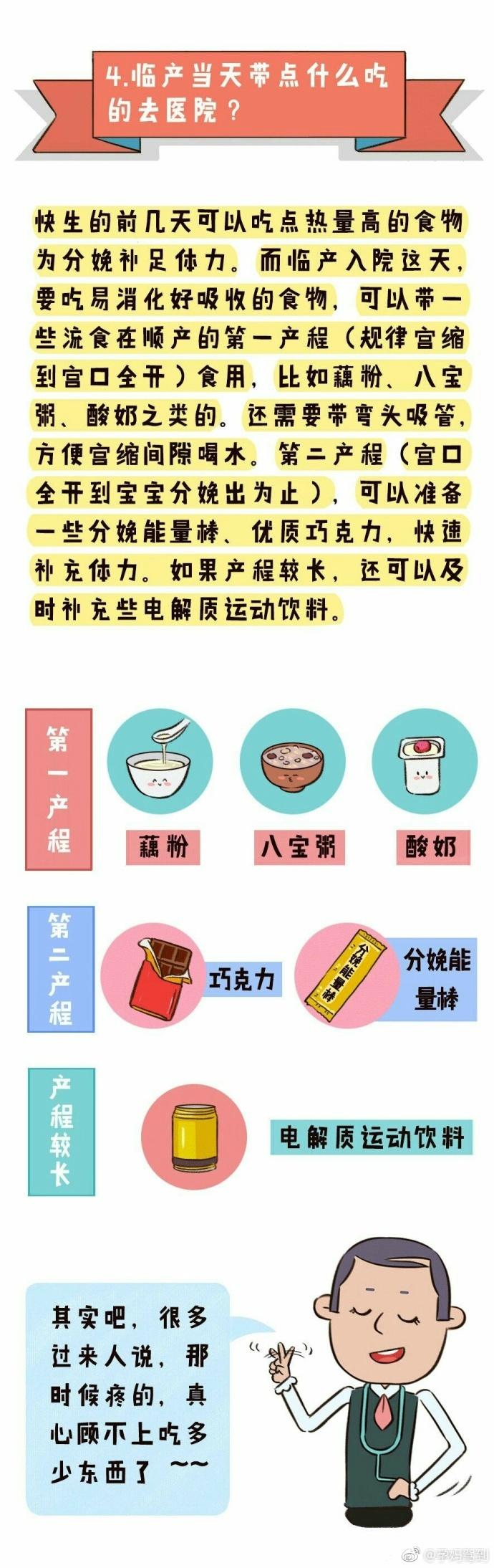 北京协和医院妇产科副教授马良坤推荐待产包清单4-临产食品